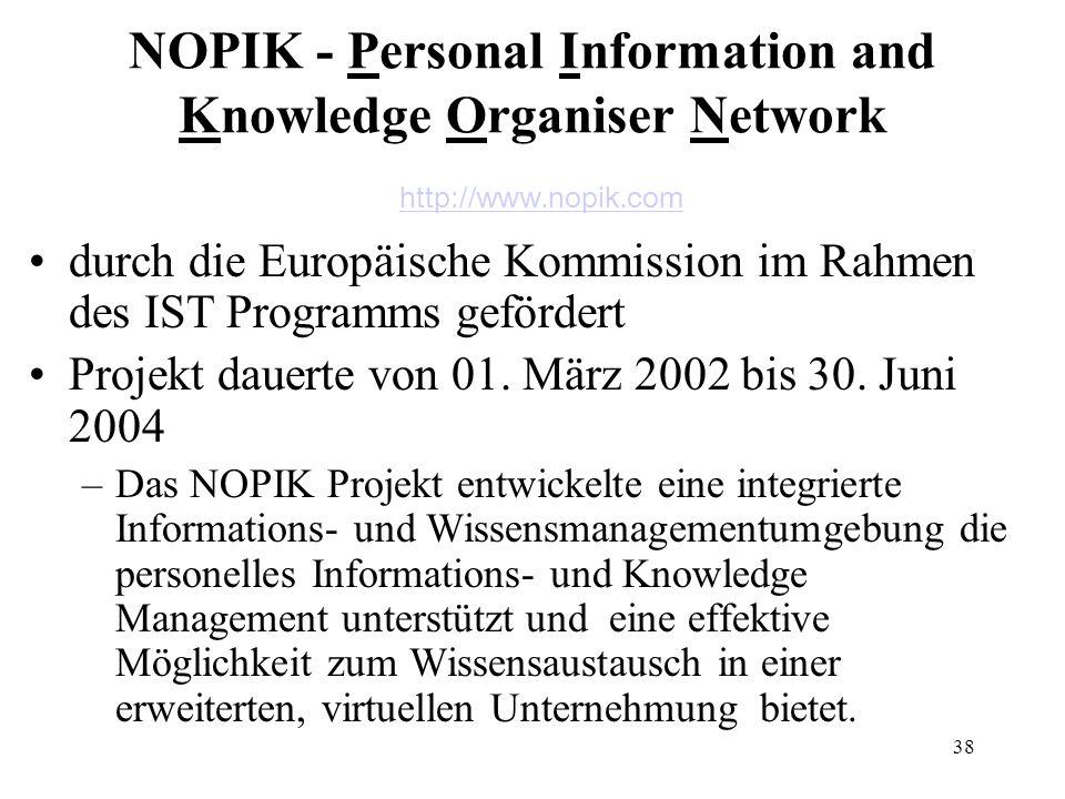 38 NOPIK - Personal Information and Knowledge Organiser Network http://www.nopik.com http://www.nopik.com durch die Europäische Kommission im Rahmen d