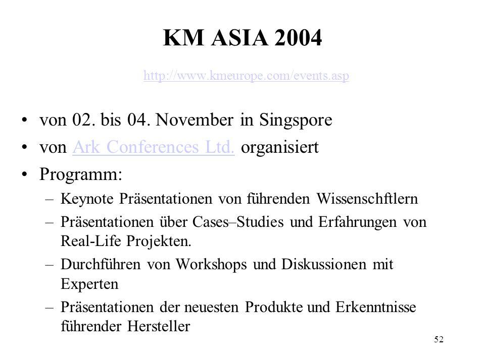 52 KM ASIA 2004 http://www.kmeurope.com/events.asp http://www.kmeurope.com/events.asp von 02. bis 04. November in Singspore von Ark Conferences Ltd. o