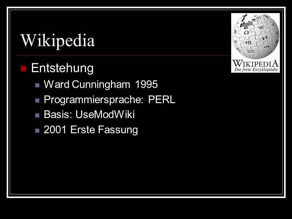 Wikipedia Entstehung Ward Cunningham 1995 Programmiersprache: PERL Basis: UseModWiki 2001 Erste Fassung