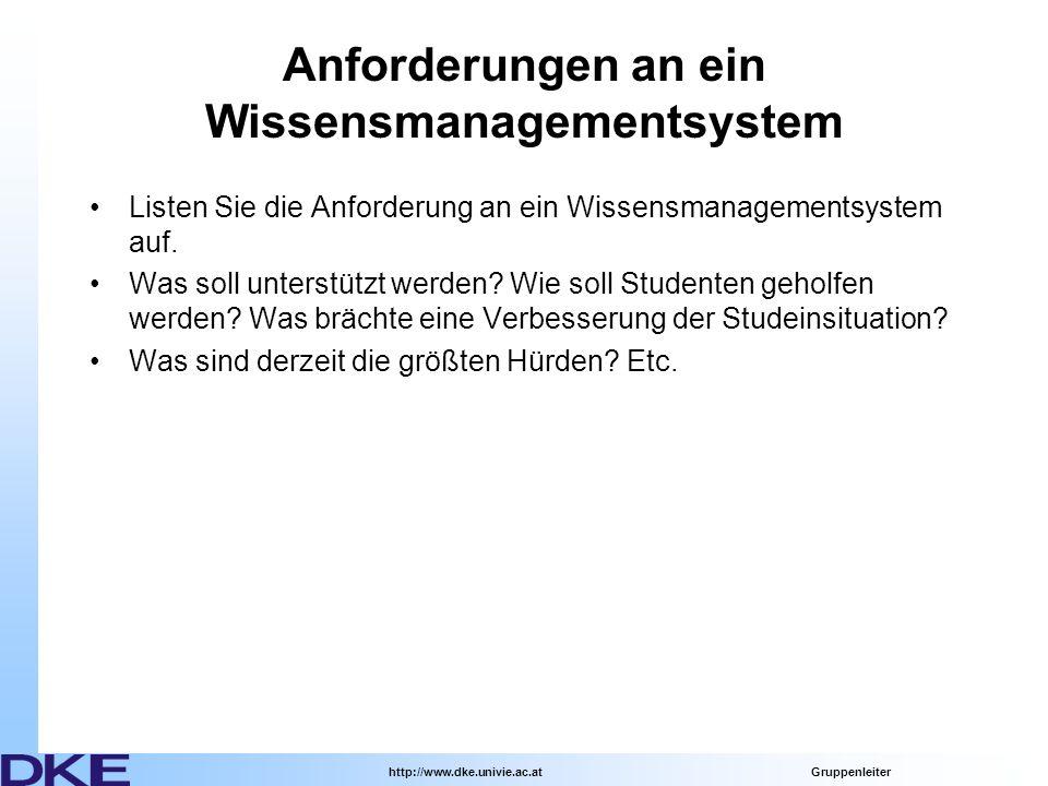 http://www.dke.univie.ac.at Gruppenleiter Anforderungen an ein Wissensmanagementsystem Listen Sie die Anforderung an ein Wissensmanagementsystem auf.