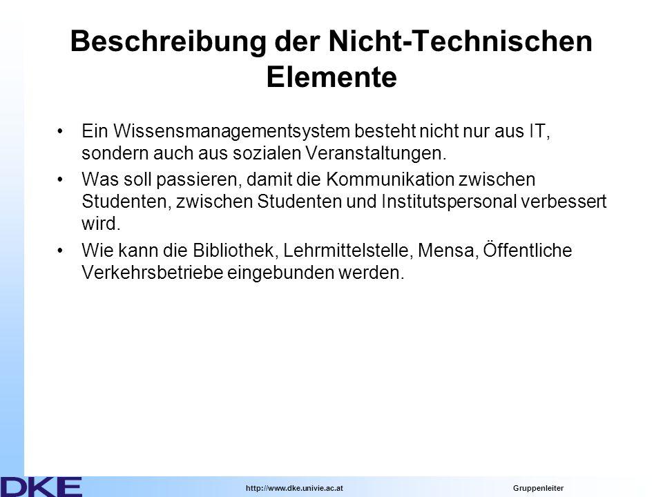 http://www.dke.univie.ac.at Gruppenleiter Beschreibung der Nicht-Technischen Elemente Ein Wissensmanagementsystem besteht nicht nur aus IT, sondern auch aus sozialen Veranstaltungen.