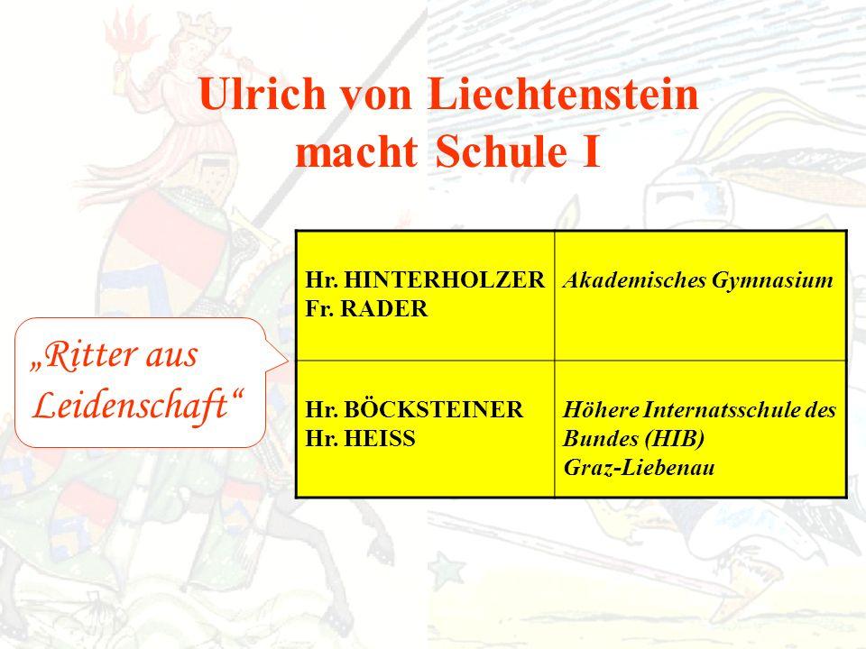 Ulrich von Liechtenstein macht Schule I Ritter aus Leidenschaft Hr.