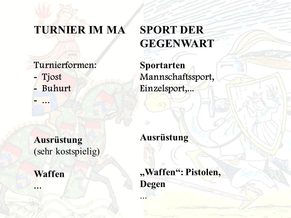 TURNIER IM MASPORT DER GEGENWART Turnierformen: - Tjost - Buhurt -...