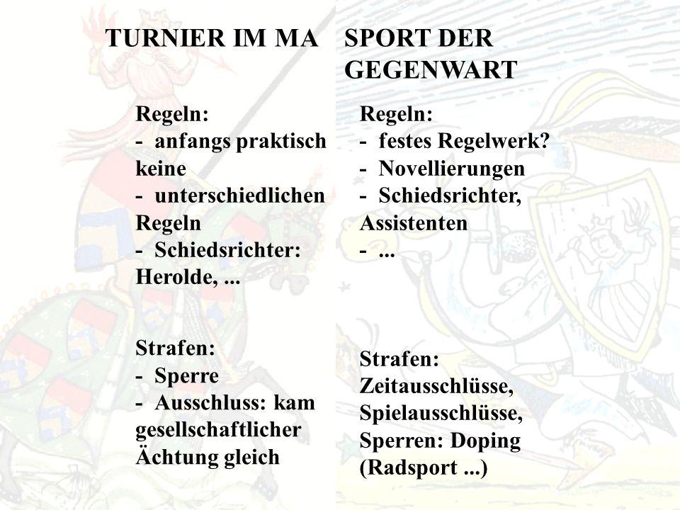 TURNIER IM MASPORT DER GEGENWART Regeln: - anfangs praktisch keine - unterschiedlichen Regeln - Schiedsrichter: Herolde,...