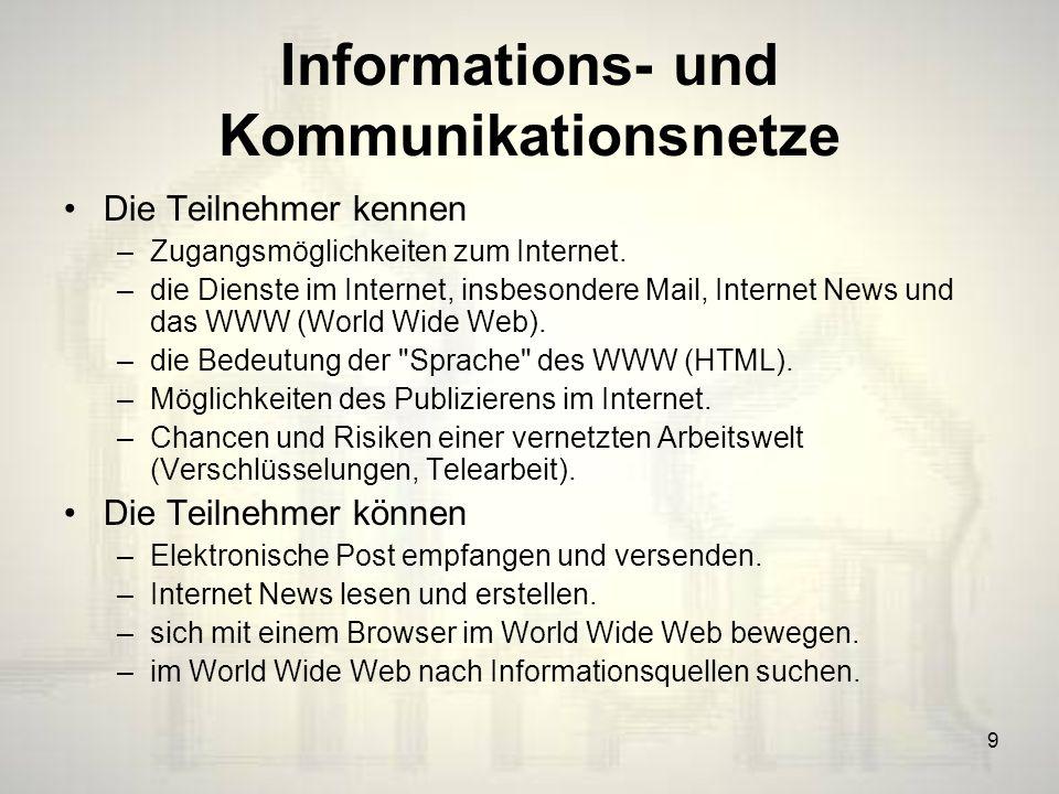 9 Informations- und Kommunikationsnetze Die Teilnehmer kennen –Zugangsmöglichkeiten zum Internet.