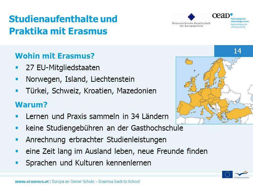www.erasmus.at   Europa an Deiner Schule – Erasmus back to School 14 Studienaufenthalte und Praktika mit Erasmus Wohin mit Erasmus? 27 EU-Mitgliedstaa