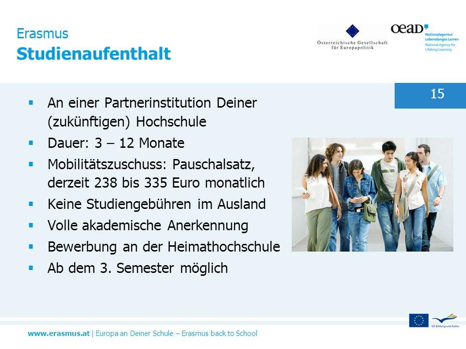 www.erasmus.at   Europa an Deiner Schule – Erasmus back to School 15 Erasmus Studienaufenthalt An einer Partnerinstitution Deiner (zukünftigen) Hochsc