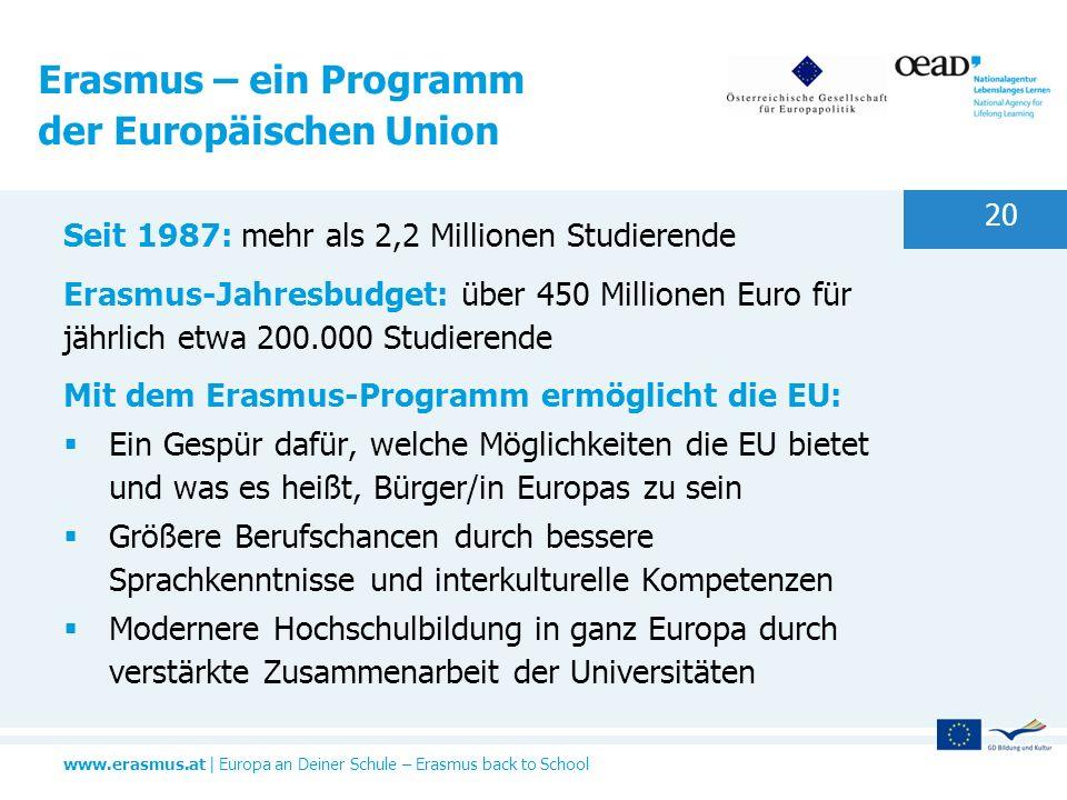 www.erasmus.at   Europa an Deiner Schule – Erasmus back to School 20 Seit 1987: mehr als 2,2 Millionen Studierende Erasmus-Jahresbudget: über 450 Mill