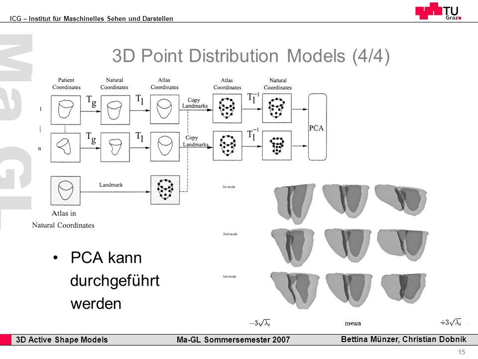 ICG – Institut für Maschinelles Sehen und Darstellen Professor Horst Cerjak, 19.12.2005 15 3D Active Shape Models Ma-GL Sommersemester 2007 Ma GL Bettina Münzer, Christian Dobnik 3D Point Distribution Models (4/4) PCA kann durchgeführt werden