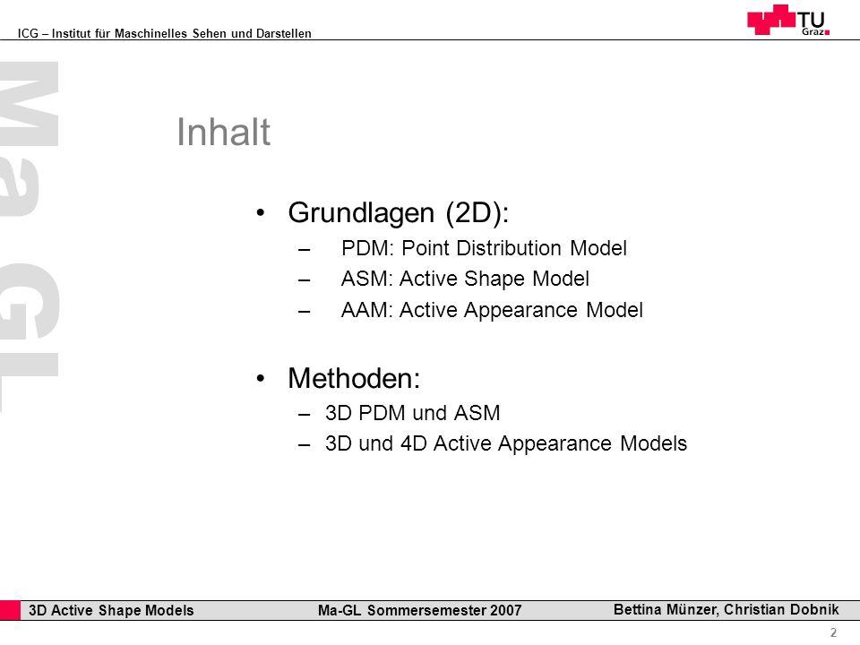 ICG – Institut für Maschinelles Sehen und Darstellen Professor Horst Cerjak, 19.12.2005 2 3D Active Shape Models Ma-GL Sommersemester 2007 Ma GL Betti