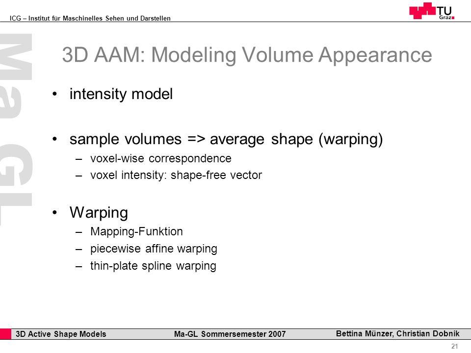ICG – Institut für Maschinelles Sehen und Darstellen Professor Horst Cerjak, 19.12.2005 21 3D Active Shape Models Ma-GL Sommersemester 2007 Ma GL Bett