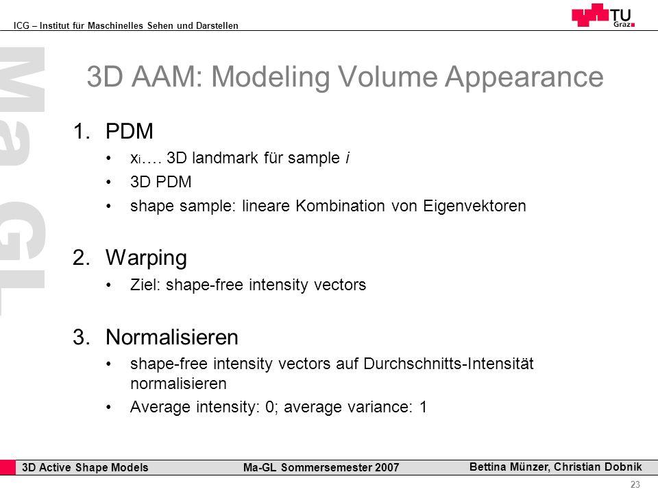 ICG – Institut für Maschinelles Sehen und Darstellen Professor Horst Cerjak, 19.12.2005 23 3D Active Shape Models Ma-GL Sommersemester 2007 Ma GL Bettina Münzer, Christian Dobnik 3D AAM: Modeling Volume Appearance 1.PDM x i ….