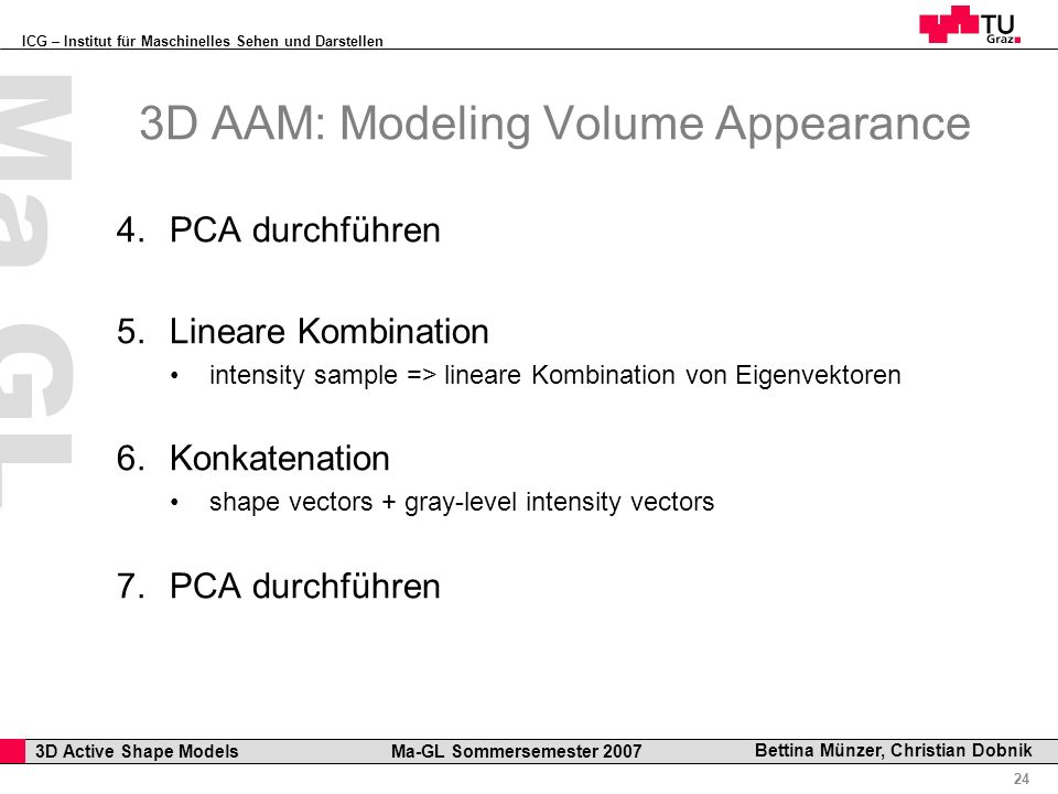 ICG – Institut für Maschinelles Sehen und Darstellen Professor Horst Cerjak, 19.12.2005 24 3D Active Shape Models Ma-GL Sommersemester 2007 Ma GL Bett