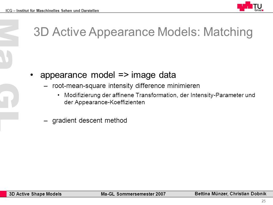 ICG – Institut für Maschinelles Sehen und Darstellen Professor Horst Cerjak, 19.12.2005 25 3D Active Shape Models Ma-GL Sommersemester 2007 Ma GL Bett