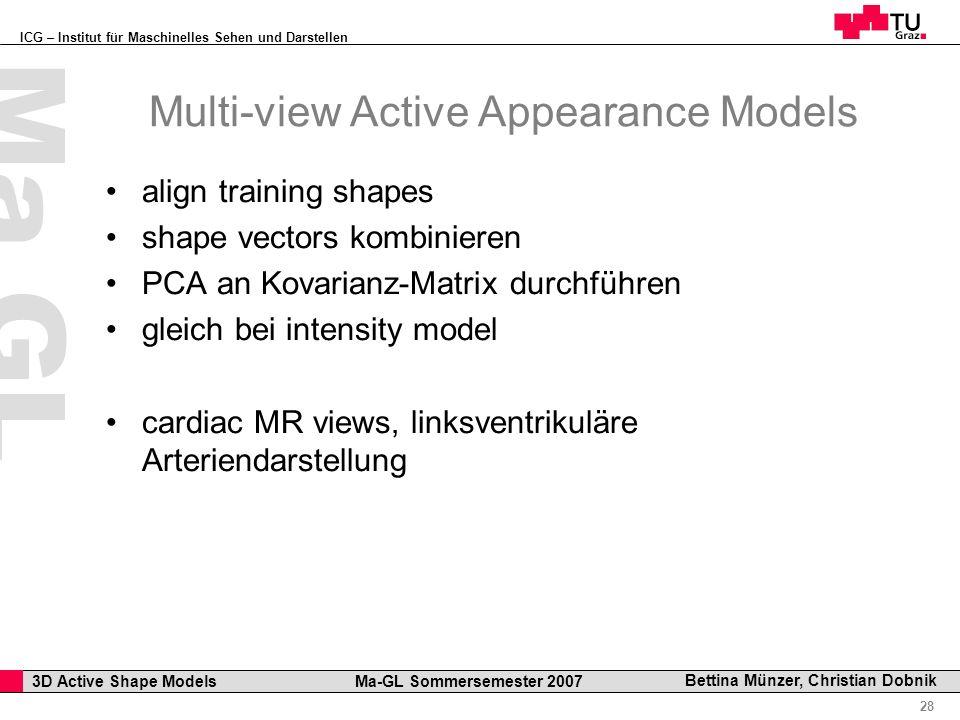 ICG – Institut für Maschinelles Sehen und Darstellen Professor Horst Cerjak, 19.12.2005 28 3D Active Shape Models Ma-GL Sommersemester 2007 Ma GL Bett