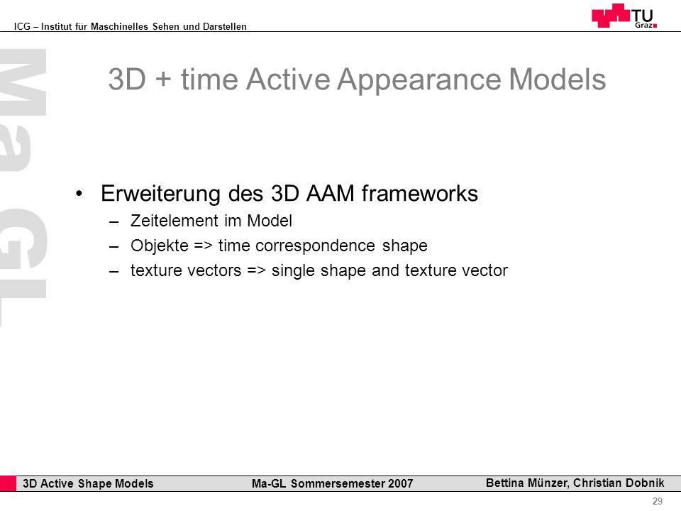 ICG – Institut für Maschinelles Sehen und Darstellen Professor Horst Cerjak, 19.12.2005 29 3D Active Shape Models Ma-GL Sommersemester 2007 Ma GL Bett