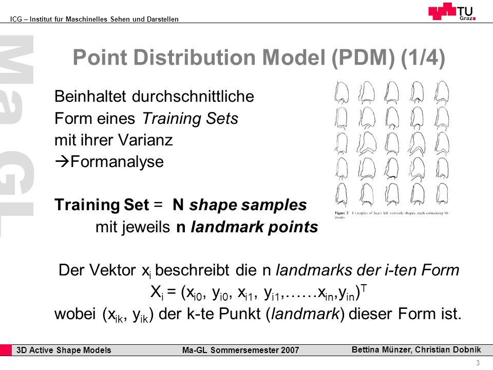 ICG – Institut für Maschinelles Sehen und Darstellen Professor Horst Cerjak, 19.12.2005 3 3D Active Shape Models Ma-GL Sommersemester 2007 Ma GL Bettina Münzer, Christian Dobnik Point Distribution Model (PDM) (1/4) Beinhaltet durchschnittliche Form eines Training Sets mit ihrer Varianz Formanalyse Training Set = N shape samples mit jeweils n landmark points Der Vektor x i beschreibt die n landmarks der i-ten Form X i = (x i0, y i0, x i1, y i1,……x in,y in ) T wobei (x ik, y ik ) der k-te Punkt (landmark) dieser Form ist.