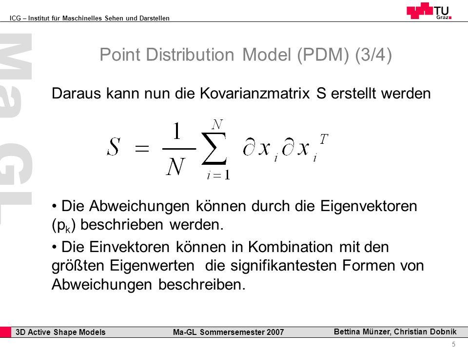 ICG – Institut für Maschinelles Sehen und Darstellen Professor Horst Cerjak, 19.12.2005 5 3D Active Shape Models Ma-GL Sommersemester 2007 Ma GL Bettina Münzer, Christian Dobnik Point Distribution Model (PDM) (3/4) Daraus kann nun die Kovarianzmatrix S erstellt werden Die Abweichungen können durch die Eigenvektoren (p k ) beschrieben werden.