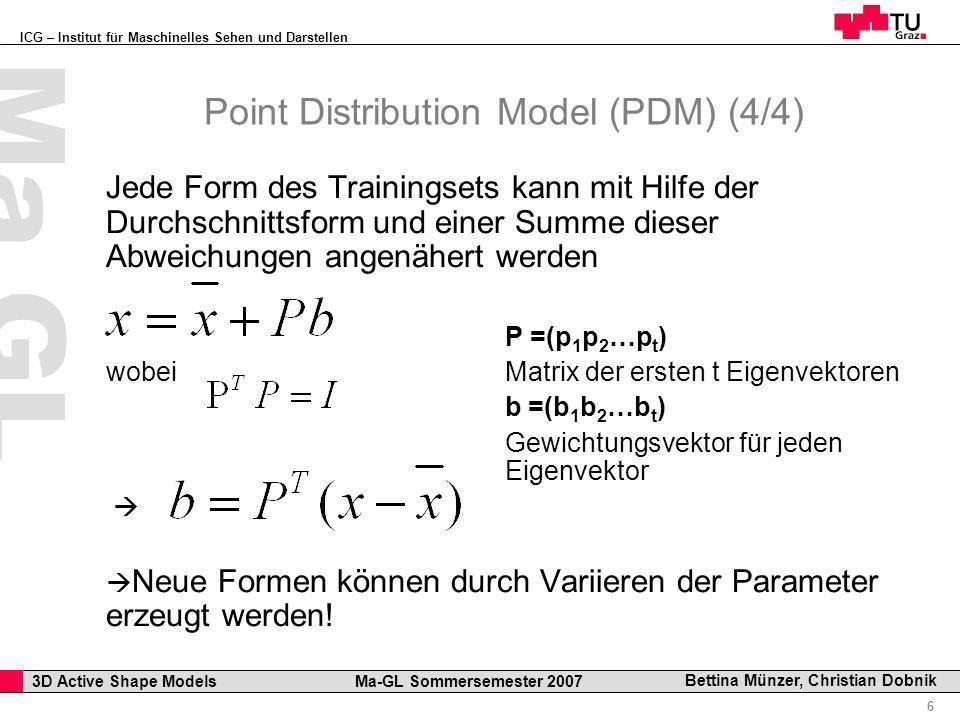 ICG – Institut für Maschinelles Sehen und Darstellen Professor Horst Cerjak, 19.12.2005 6 3D Active Shape Models Ma-GL Sommersemester 2007 Ma GL Bettina Münzer, Christian Dobnik Point Distribution Model (PDM) (4/4) Jede Form des Trainingsets kann mit Hilfe der Durchschnittsform und einer Summe dieser Abweichungen angenähert werden P =(p 1 p 2 …p t ) wobei Matrix der ersten t Eigenvektoren b =(b 1 b 2 …b t ) Gewichtungsvektor für jeden Eigenvektor Neue Formen können durch Variieren der Parameter erzeugt werden!