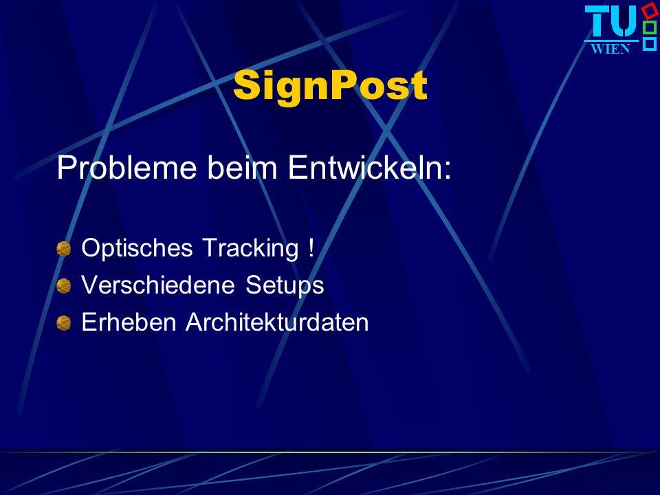 WIEN SignPost Probleme beim Entwickeln: Optisches Tracking ! Verschiedene Setups Erheben Architekturdaten