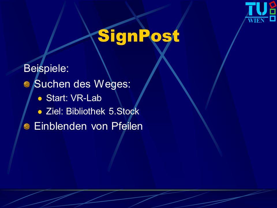 WIEN SignPost Beispiele: Suchen des Weges: Start: VR-Lab Ziel: Bibliothek 5.Stock Einblenden von Pfeilen