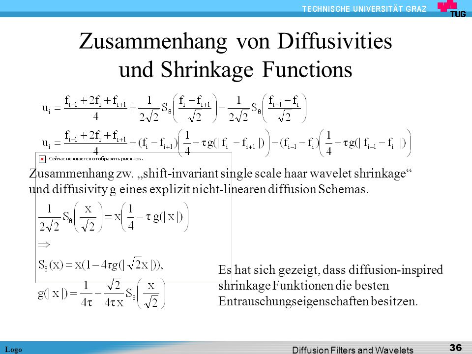 Logo Diffusion Filters and Wavelets 36 Zusammenhang von Diffusivities und Shrinkage Functions Zusammenhang zw. shift-invariant single scale haar wavel