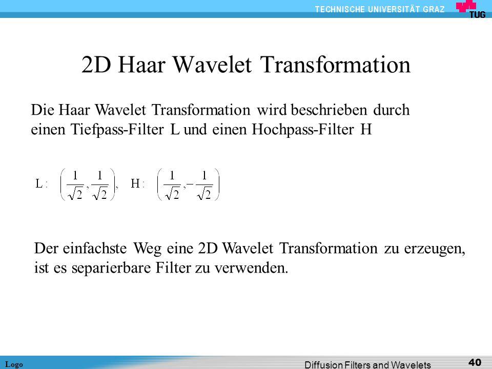 Logo Diffusion Filters and Wavelets 40 2D Haar Wavelet Transformation Die Haar Wavelet Transformation wird beschrieben durch einen Tiefpass-Filter L u