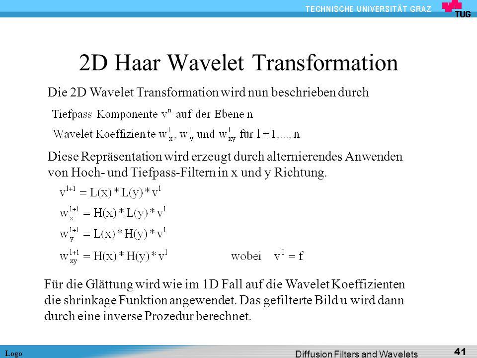Logo Diffusion Filters and Wavelets 41 2D Haar Wavelet Transformation Die 2D Wavelet Transformation wird nun beschrieben durch Diese Repräsentation wi