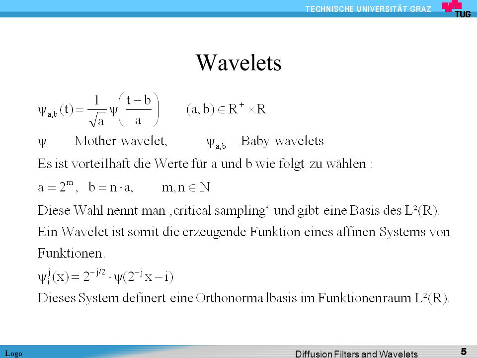 Logo Diffusion Filters and Wavelets 46 Diffusion-Inspired 2D Wavelet Shrinkage