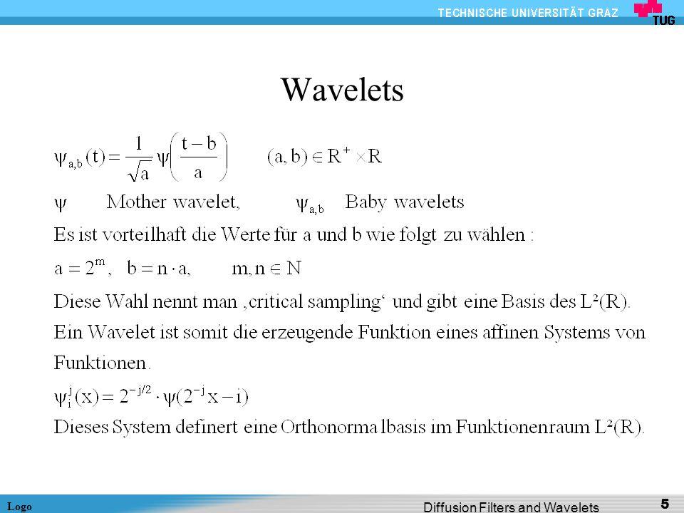 Logo Diffusion Filters and Wavelets 26 Wavelet Shrinkage eines 2-pixel Signals (2) Führt zu folgendem gefilterten Signal