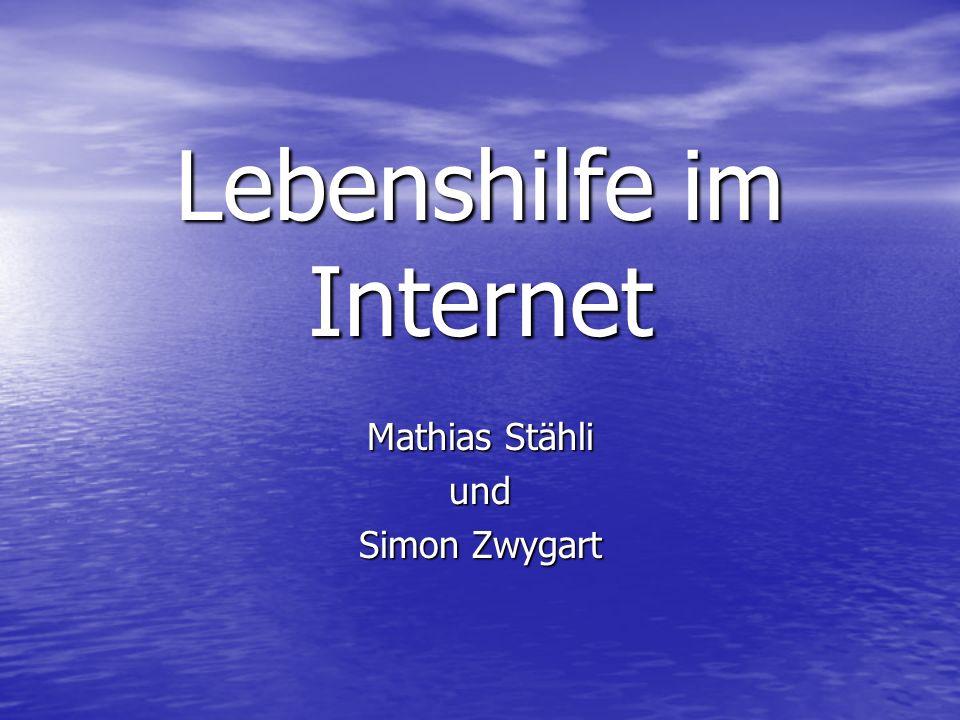 Lebenshilfe im Internet Mathias Stähli und Simon Zwygart
