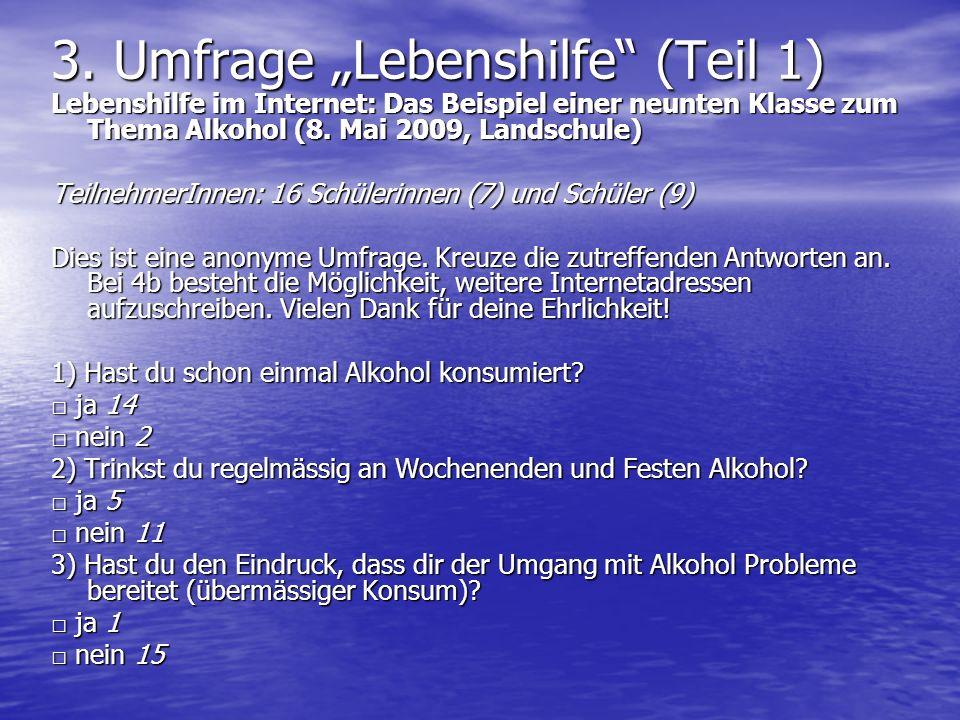 3. Umfrage Lebenshilfe (Teil 1) Lebenshilfe im Internet: Das Beispiel einer neunten Klasse zum Thema Alkohol (8. Mai 2009, Landschule) TeilnehmerInnen