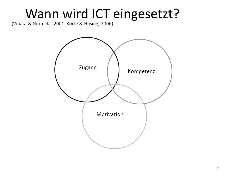 15 Wann wird ICT eingesetzt? (Vihärä & Nurmela, 2001; Korte & Hüsing, 2006) Zugang Kompetenz Motivation