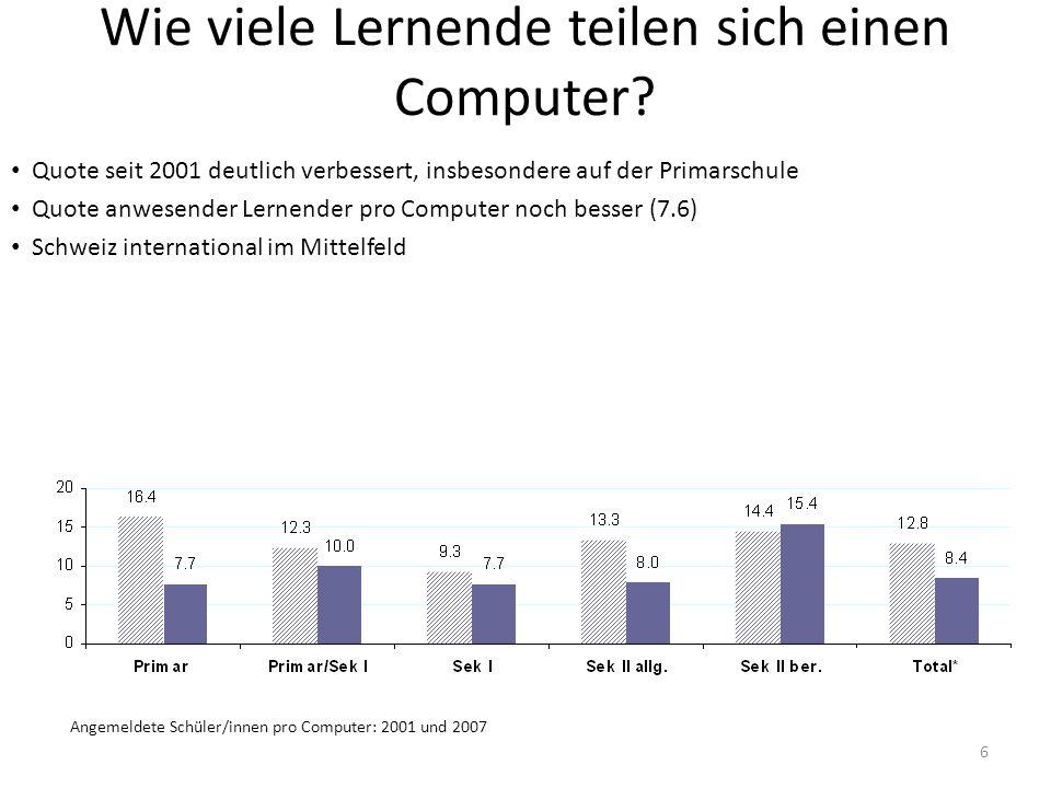 6 Wie viele Lernende teilen sich einen Computer? Quote seit 2001 deutlich verbessert, insbesondere auf der Primarschule Quote anwesender Lernender pro