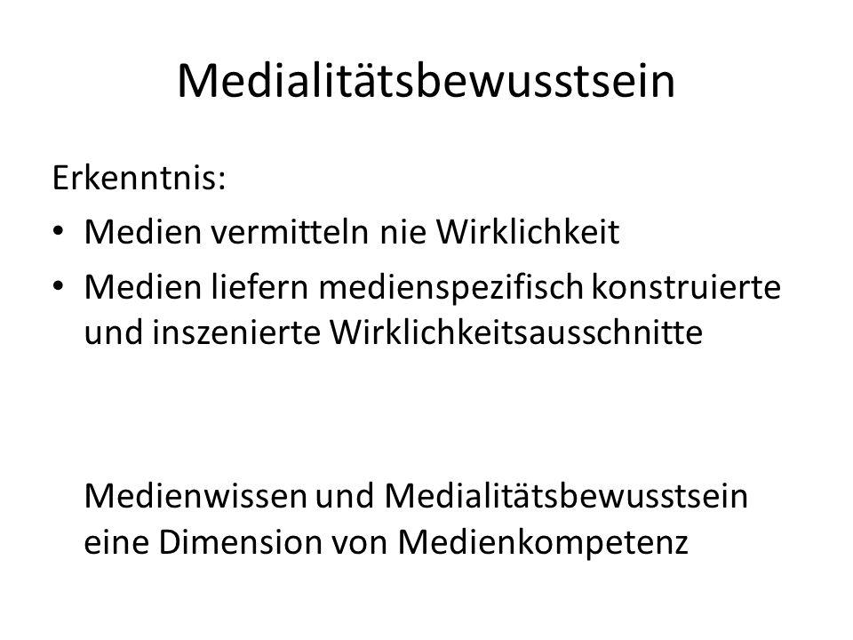 Medialitätsbewusstsein Erkenntnis: Medien vermitteln nie Wirklichkeit Medien liefern medienspezifisch konstruierte und inszenierte Wirklichkeitsaussch