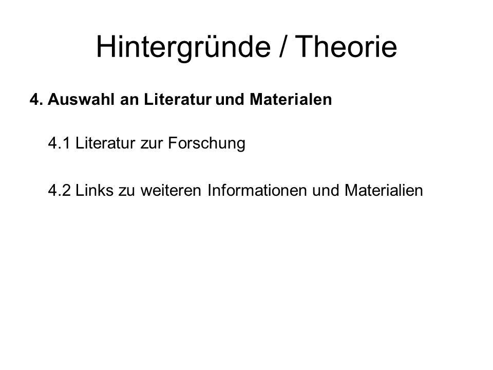 Hintergründe / Theorie 4. Auswahl an Literatur und Materialen 4.1 Literatur zur Forschung 4.2 Links zu weiteren Informationen und Materialien