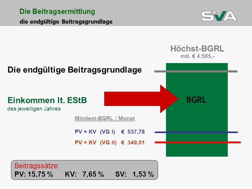 Einkommen lt. EStB des jeweiligen Jahres Die endgültige Beitragsgrundlage BGRL Höchst-BGRL mtl. 4.585,- Mindest-BGRL / Monat PV + KV(VG I) 537,78 PV +
