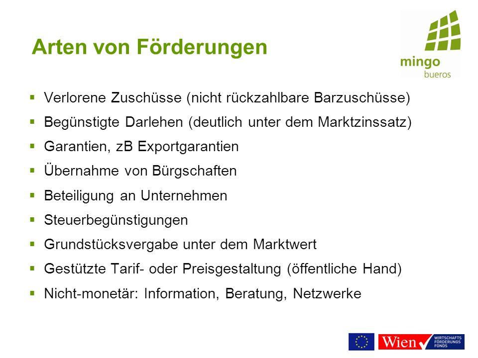 Arten von Förderungen Verlorene Zuschüsse (nicht rückzahlbare Barzuschüsse) Begünstigte Darlehen (deutlich unter dem Marktzinssatz) Garantien, zB Expo