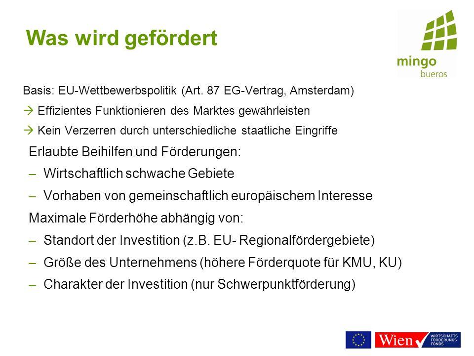 Was wird gefördert Basis: EU-Wettbewerbspolitik (Art. 87 EG-Vertrag, Amsterdam) Effizientes Funktionieren des Marktes gewährleisten Kein Verzerren dur