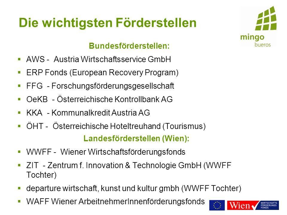 Die wichtigsten Förderstellen Bundesförderstellen: AWS - Austria Wirtschaftsservice GmbH ERP Fonds (European Recovery Program) FFG - Forschungsförderu