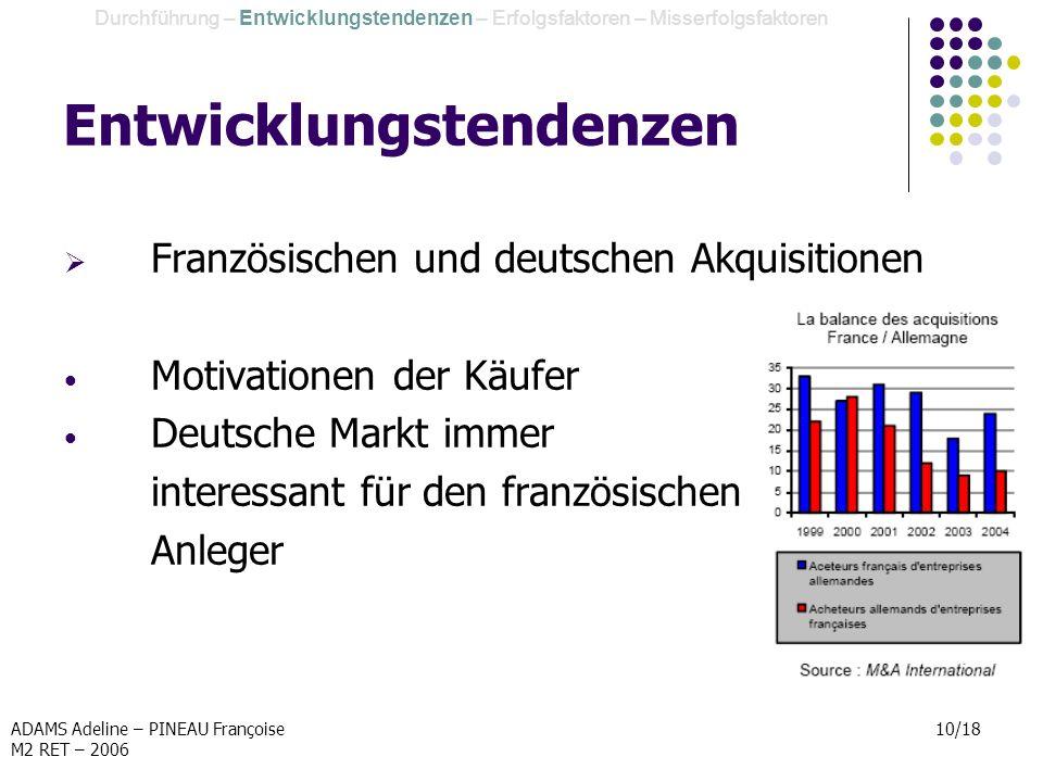 ADAMS Adeline – PINEAU Françoise M2 RET – 2006 10/18 Entwicklungstendenzen Französischen und deutschen Akquisitionen Motivationen der Käufer Deutsche