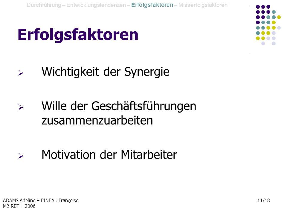 ADAMS Adeline – PINEAU Françoise M2 RET – 2006 11/18 Erfolgsfaktoren Wichtigkeit der Synergie Wille der Geschäftsführungen zusammenzuarbeiten Motivati