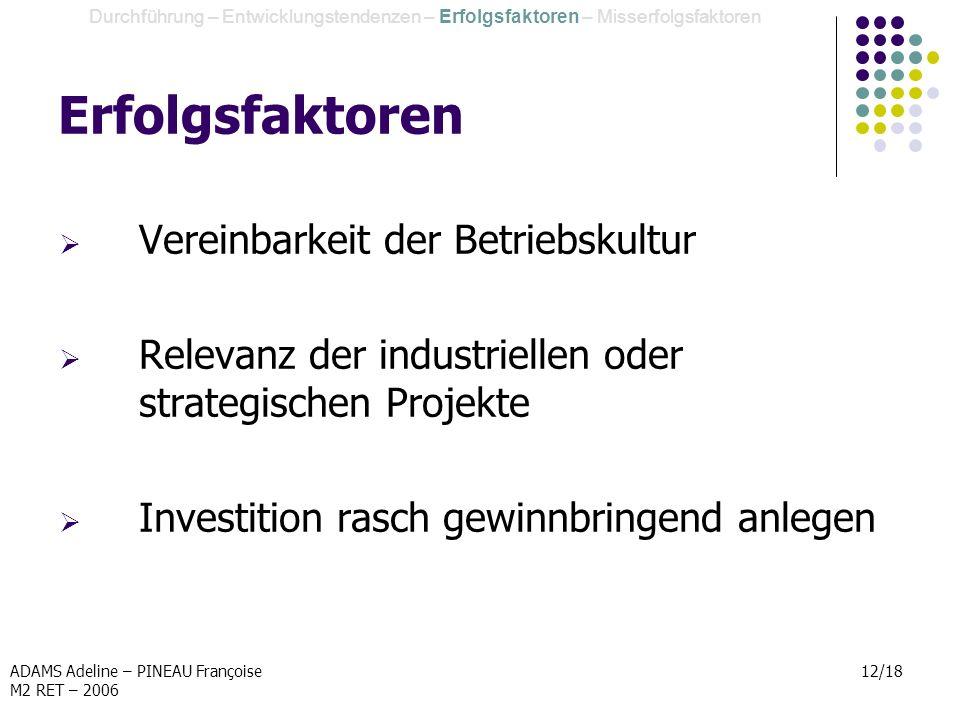 ADAMS Adeline – PINEAU Françoise M2 RET – 2006 12/18 Erfolgsfaktoren Vereinbarkeit der Betriebskultur Relevanz der industriellen oder strategischen Pr