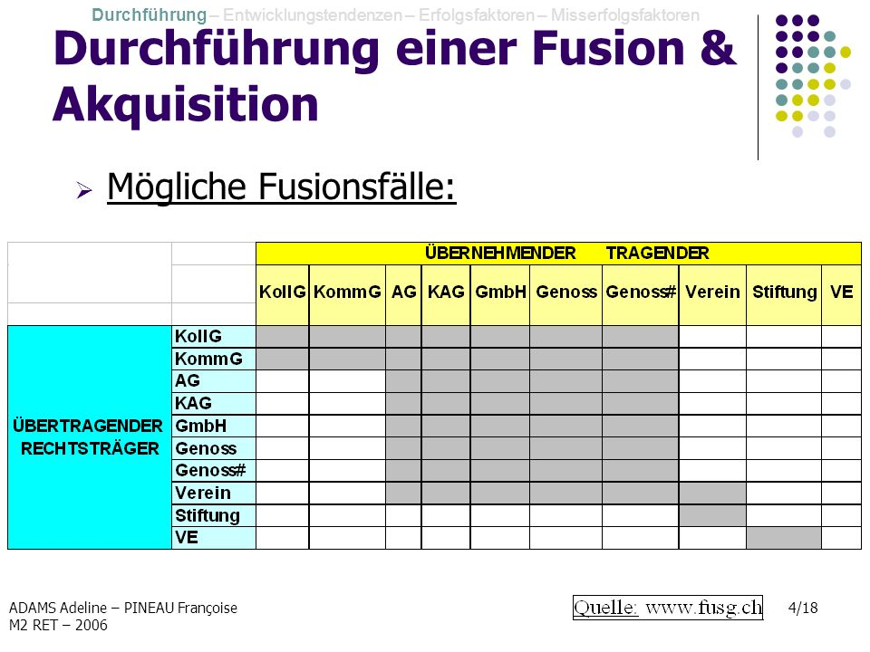 ADAMS Adeline – PINEAU Françoise M2 RET – 2006 4/18 Durchführung einer Fusion & Akquisition Mögliche Fusionsfälle: Durchführung – Entwicklungstendenze