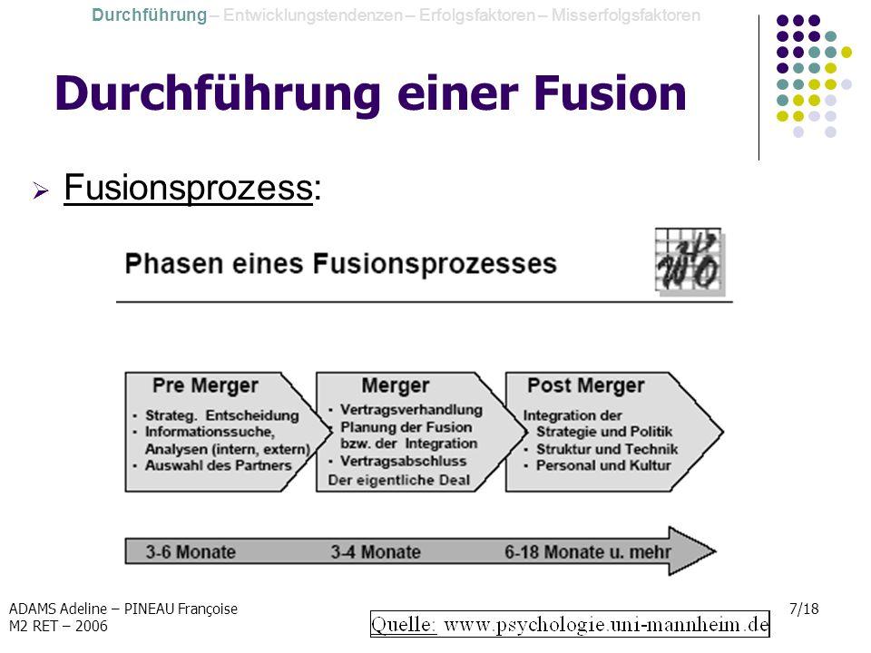 ADAMS Adeline – PINEAU Françoise M2 RET – 2006 7/18 Durchführung einer Fusion Fusionsprozess: Durchführung – Entwicklungstendenzen – Erfolgsfaktoren –