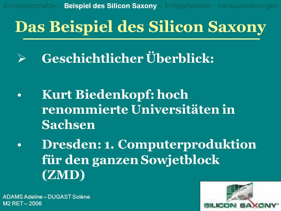 ADAMS Adeline – DUGAST Solène M2 RET – 2006 Das Beispiel des Silicon Saxony Geschichtlicher Überblick: Kurt Biedenkopf: hoch renommierte Universitäten in Sachsen Dresden: 1.