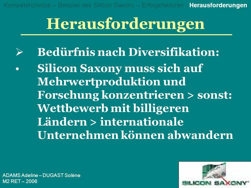 ADAMS Adeline – DUGAST Solène M2 RET – 2006 Herausforderungen Bedürfnis nach Diversifikation: Silicon Saxony muss sich auf Mehrwertproduktion und Forschung konzentrieren > sonst: Wettbewerb mit billigeren Ländern > internationale Unternehmen können abwandern Kompetenznetze – Beispiel des Silicon Saxony – Erfolgsfaktoren - Herausforderungen
