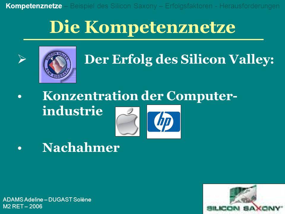 ADAMS Adeline – DUGAST Solène M2 RET – 2006 Die Kompetenznetze Der Erfolg des Silicon Valley: Konzentration der Computer- industrie Nachahmer Kompetenznetze – Beispiel des Silicon Saxony – Erfolgsfaktoren - Herausforderungen