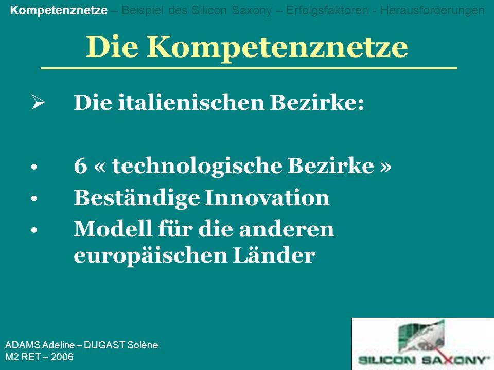 ADAMS Adeline – DUGAST Solène M2 RET – 2006 Die Kompetenznetze Die italienischen Bezirke: 6 « technologische Bezirke » Beständige Innovation Modell für die anderen europäischen Länder Kompetenznetze – Beispiel des Silicon Saxony – Erfolgsfaktoren - Herausforderungen