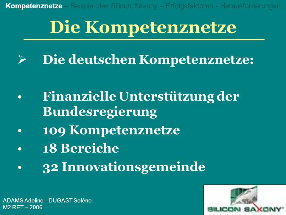 ADAMS Adeline – DUGAST Solène M2 RET – 2006 Die Kompetenznetze Die deutschen Kompetenznetze: Finanzielle Unterstützung der Bundesregierung 109 Kompetenznetze 18 Bereiche 32 Innovationsgemeinde Kompetenznetze – Beispiel des Silicon Saxony – Erfolgsfaktoren - Herausforderungen